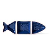 Fish Serveringsskål 3 Deler, Blå