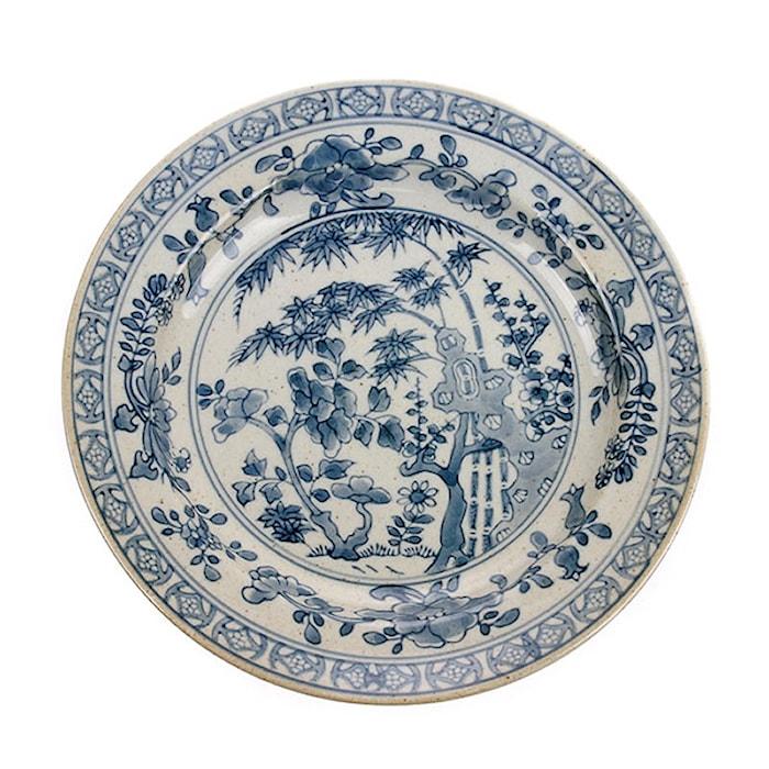 Kyoto Håndmalet Tallerken Blå/Hvid 25x25x3 cm