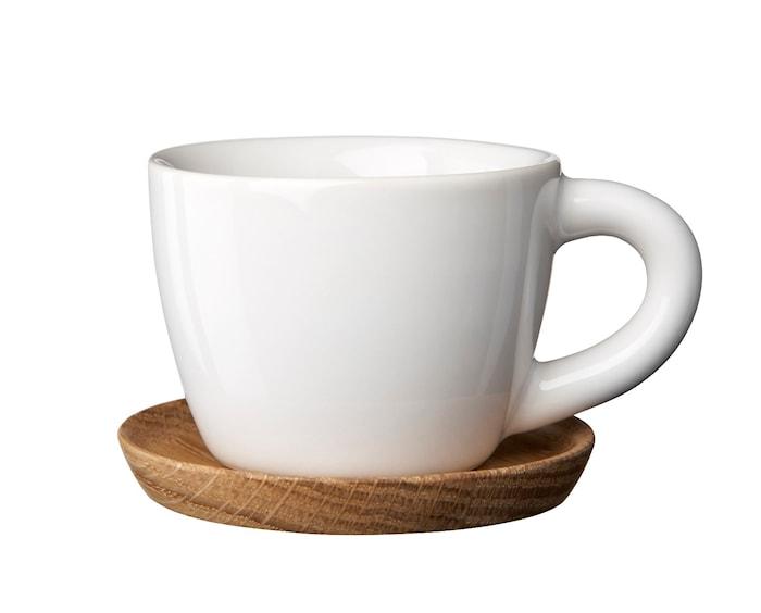 HK Espressokop 10 cl hvid blank med træunderkop