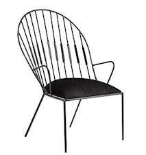 Lænestol i jern med sæde i fløjl - Sort