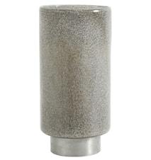 Glass lantern grey, silver base, L