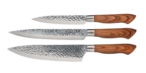 Knivset i stål brunt handtag 3 delar