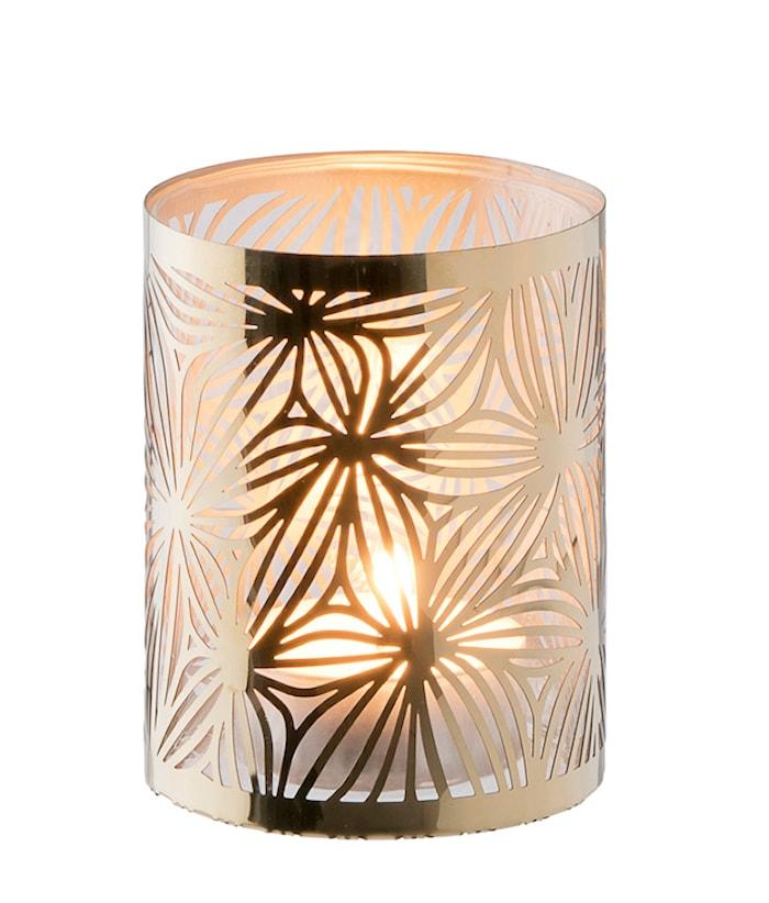 Lysholder messing med glas rør mønster 7,5 cm