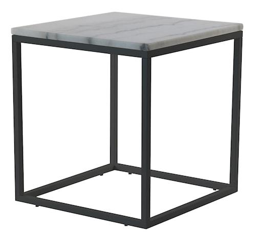 Accent soffbord - kvadrat - 50x50 - vit/svart