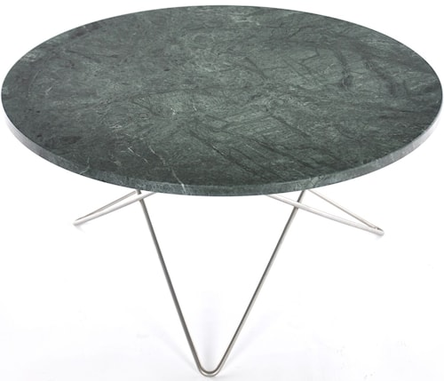 Large O table - Grön marmor, stålunderrede