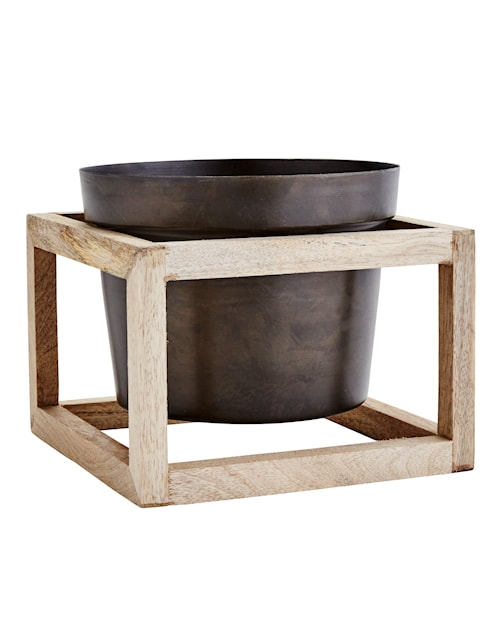 Flower pot with wooden stand