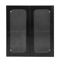 Wall cabinet, 2 doors, glass/shiny black