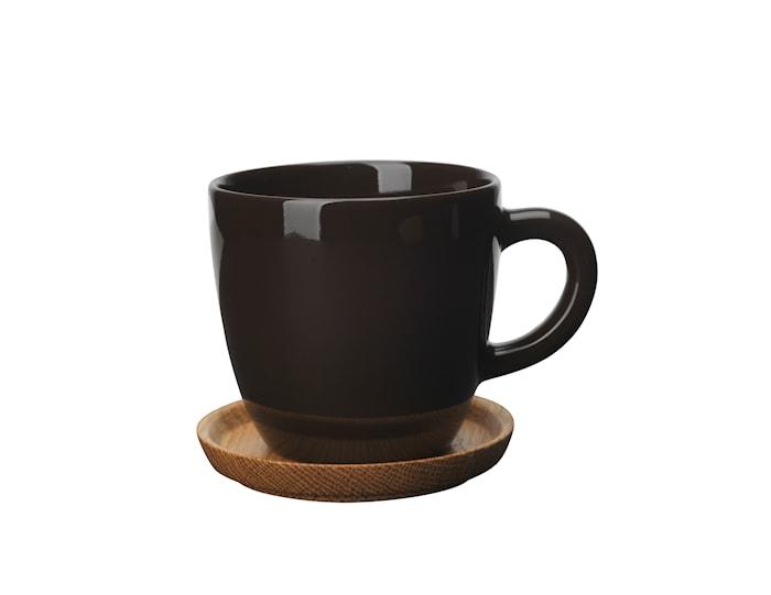 Höganäs Keramik Kaffekrusg 33 cl Med Träfat Bark Blank