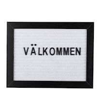 Bokstavstavla svart ram vit filt 16,2*21,3*2 cm