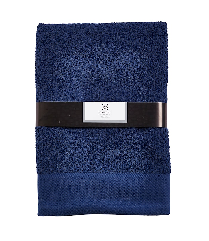 Håndklæde - 100% bomuld - 400 g - Mørkeblå - L 140,0cm - B 70,0cm - Sleeve - Stk.