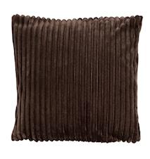 Kuddfodral i syntetpäls rand 45x45 cm - Brun