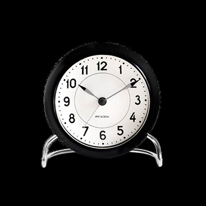 Arne Jacobsen Station bordur, sort/hvid, Ø 11 cm, alarmfunktion