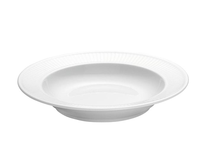 Plissé tallerken dyb hvid, Ø 22 cm