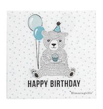 """Serviet """"Happy Birthday"""" Blå 20 stk. 33x33"""