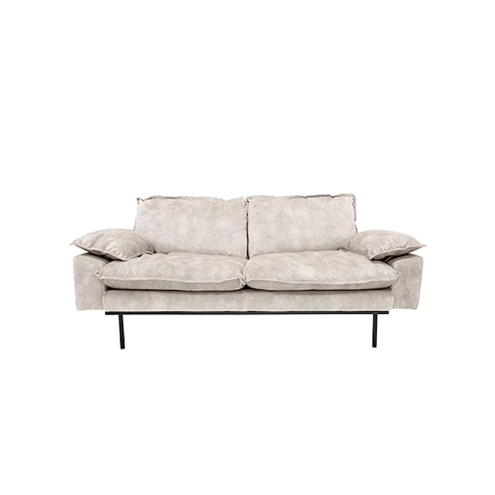 Retro Sofa Fløjl 2-pers Cream Hvid
