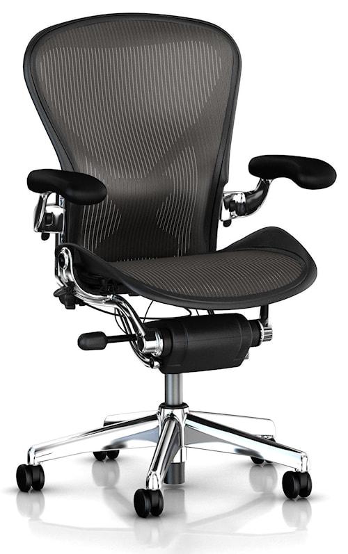 Aeron kontorsstol - Fullt utrustad, Blankpolerad, Large