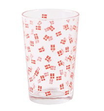 Drikkeglas - m. dansk flag - Glass - Rød - Hvit - D 6,5cm - H 10,5cm
