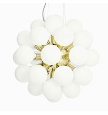 De Lux mässing stor taklampa med vita glober