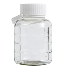 Glass container w. white lid & handle