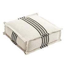 Gulvpute striper 70x70 cm - hvit