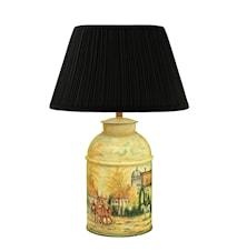 Lampa Handmålad Plåt Engelsk By Stor 36cm