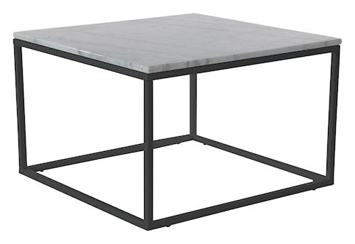 Accent soffbord - kvadrat - 75x75 - vit/svart