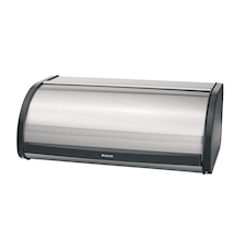 Bread bin with roll top with black sides Matt steel