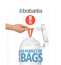 Avfallspåsar B, 5Ltr [Dispenser Pack med 60 påsar] White
