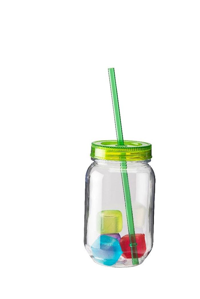 Glass hardplast grønt lokk sugerør 4 st iskuber 50 cl