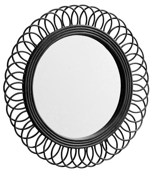 Rund spegel i rotting Ø 54 cm - Svart