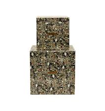 Opbevaring, Blomstret mønster, Sæt med 2 stk, (16x16x16 cm) (22x22x22 cm)