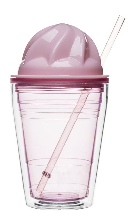 Sweet milkshake med sugerør, lyserød