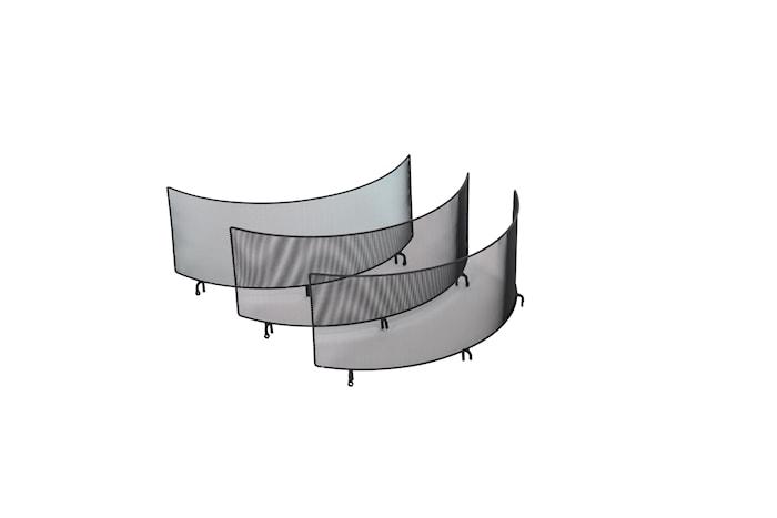 Gnistfångare med tre väggar till Braspanna 60 cm