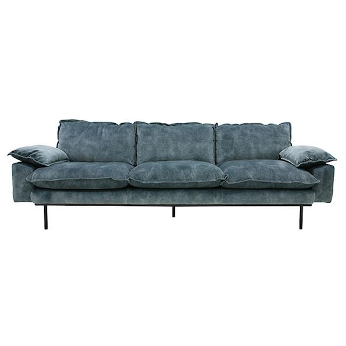 Retro Sofa Fløjl 4-pers Blå