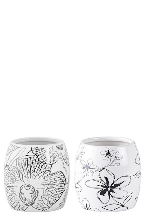 Vas Keramik Vit/Svart 10 cm
