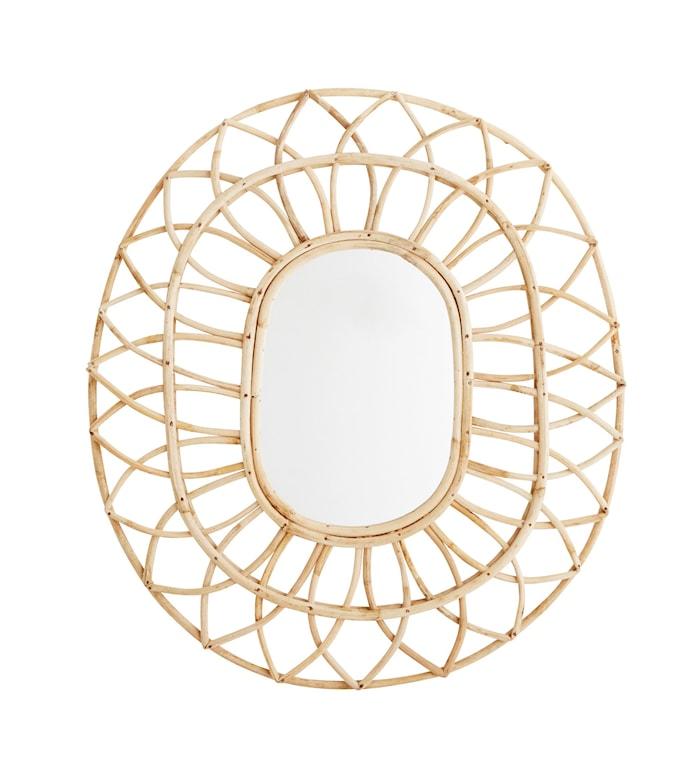 Oval spegel i Bambu 59x50 cm