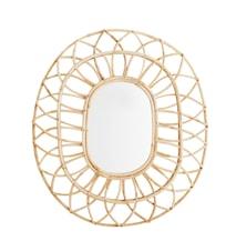 Oval speil i Bambus 59x50 cm