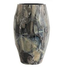 WAVE, glass vase, black/foil, small