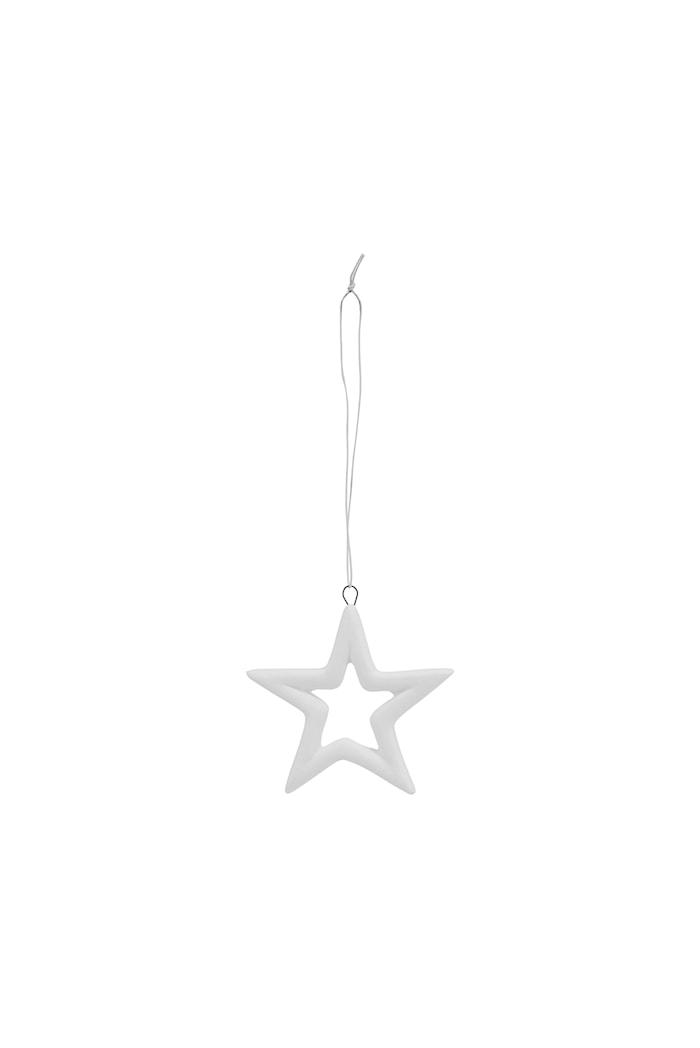 Ornament Stjärna 2st 5,9cm Vit