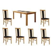 Jasmine Matgrupp Ek inkl. 6 stolar - Ek, klädsel konstskinn