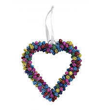 Heart hanging, h-12 cm, bells, coloured