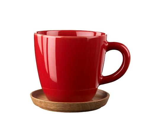 Höganäs Keramik kaffemugg 33 cl med träfat äppelröd blank