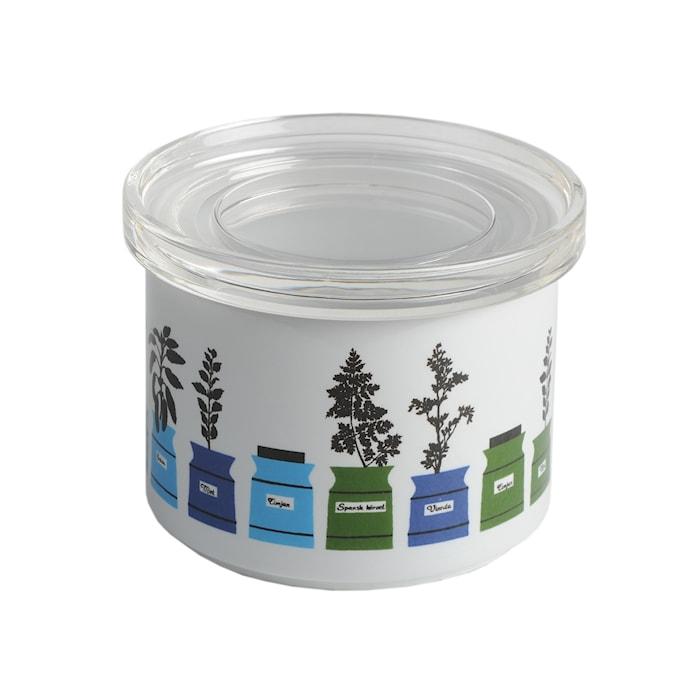 Persons krydderiskab Porcelænbeholder med plexiglaslåg Blå