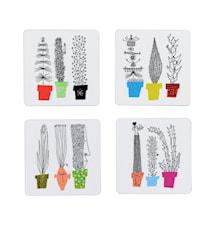 Italiensk Blomsterhylle Glassunderlag 4-pakk