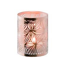 Lysholder kobber med glasrør mønster højde 7,5 cm