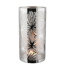 Lykta rostfri med glasrör mönster  20 cm