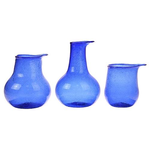Återvunna Glasvaser Kobolt Set om 3