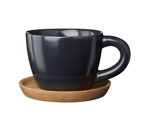 HK Espressokop 10 cl grafitgrå matt med træunderkop