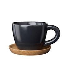 Espressokopp med träfat 10 cl grafitgrå matt