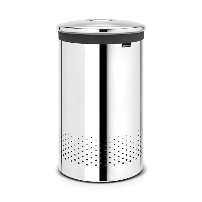 Tvättkorg med metallock 60 L Blankputsat Stål